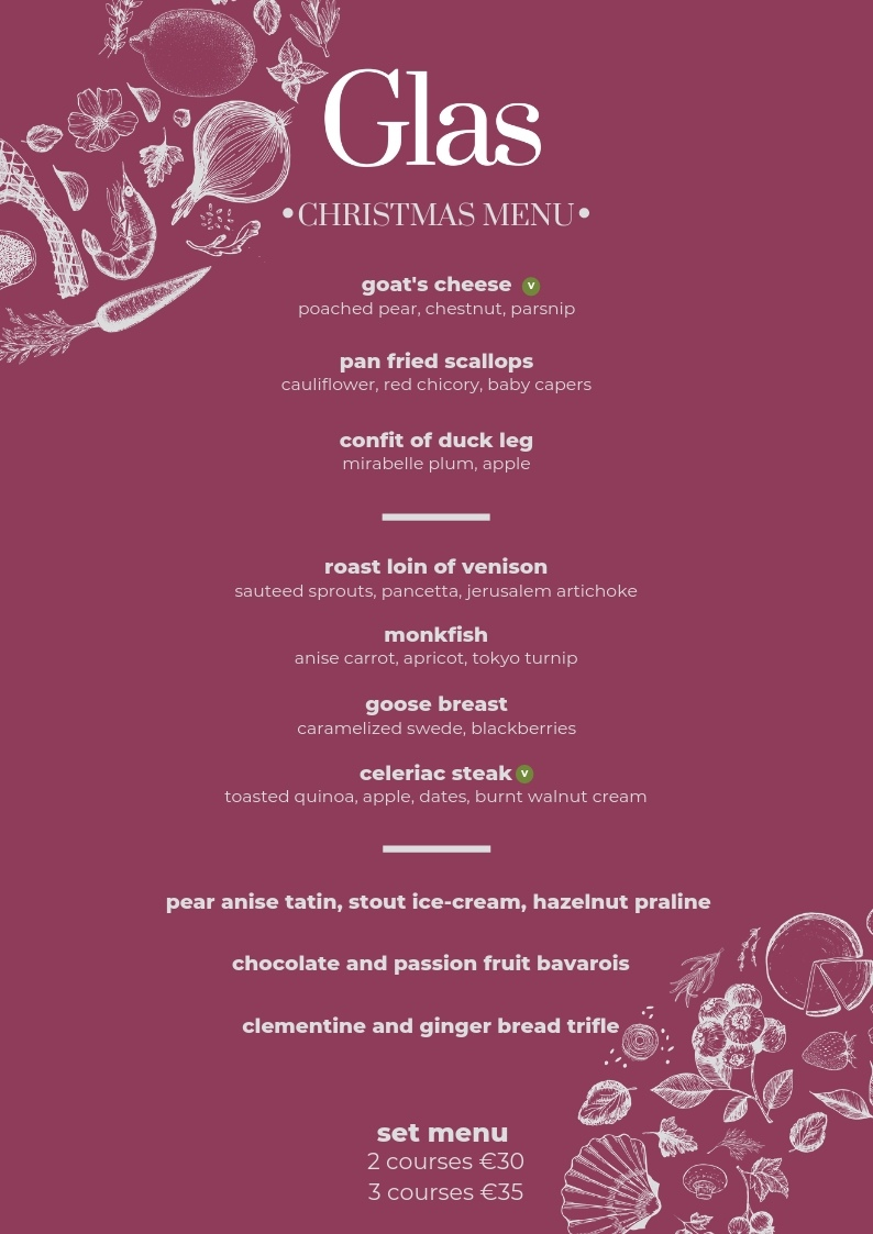 christmas 2019 glas dinner set menu